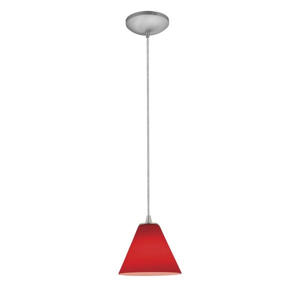 Access Lighting Martini Steel LED Cord Pendant, Red Shade
