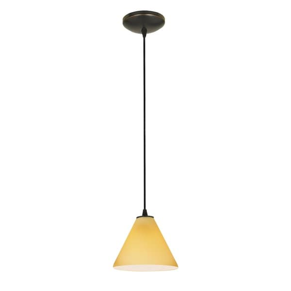Access Lighting Martini Bronze LED Cord Pendant, Amber Shade