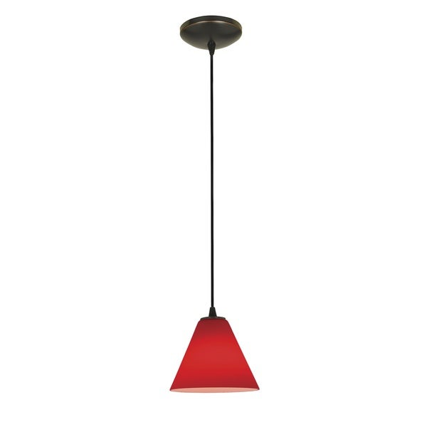 Access Lighting Martini Bronze Integrated LED Cord Pendant, Red Shade