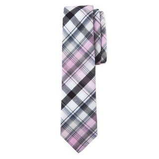 Men's Pink, Black and Off-white Cotton Picnic Plaid Neck Tie