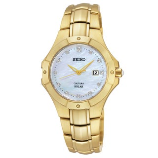 Seiko Women's SUT168 Coutura Gold-tone Mother of Pearl Solar Watch|https://ak1.ostkcdn.com/images/products/11854899/P18755810.jpg?_ostk_perf_=percv&impolicy=medium