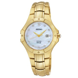 Seiko Women's SUT168 Coutura Gold-tone Mother of Pearl Solar Watch
