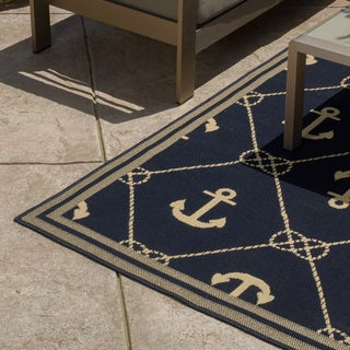 Christopher Knight Home Roxanne Una Indoor/Outdoor Navy Rug (7' x 10')
