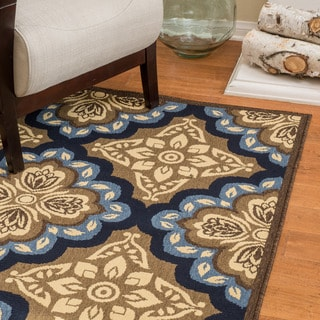 Christopher Knight Home Roxanne Faye Indoor/Outdoor Blue Floral Rug (7' x 10')