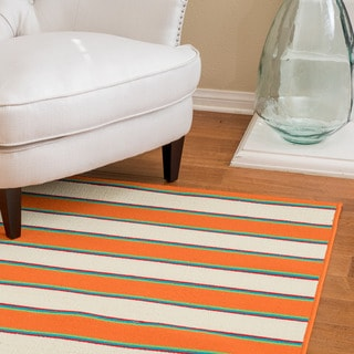 Christopher Knight Home Roxanne Dora Indoor/Outdoor Orange Stripe Rug (7' x 10')