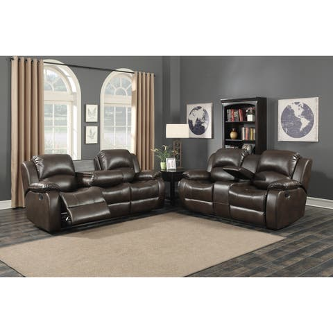 Samara 2-Piece Brown Sofa and Loveseat Living Room Set with 4 Recliners, Storage Console and Cup Holders (Set of 2)
