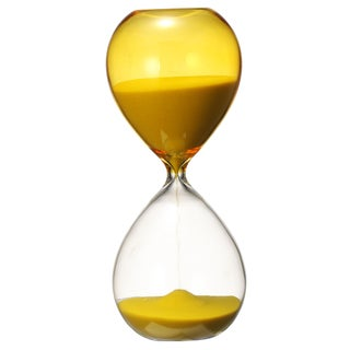 Yellow Sand and Glass 3-inch x 3-inch x 8-inch Hourglass Figurine