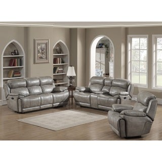 Estella Contemporary Reclining Sofa, Loveseat with Storage Console and Glider Reclining Chair 3-piece Set