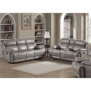 Estella Contemporary Sofa and Loveseat with Storage Console 2 piece Set Recliners Living Room Furniture Sets For Less  Overstock com
