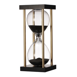 3-inch x 3-inch x 7-inch Black Hourglass in Stand