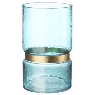 Charlotte Blue Banded Glass 6-inch x 10-inch Hurricane Candle Holder