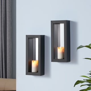 Danya B Set of 2 Vertical Mirror Pillar Candle Sconces with Metal Frame