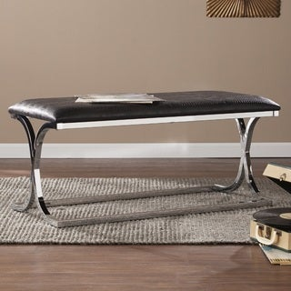 Harper Blvd Carlton Chrome-plated Black Reptile Bench