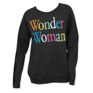 Junk Food Women's Wonder Woman Black Cotton Crewneck Sweatshirt