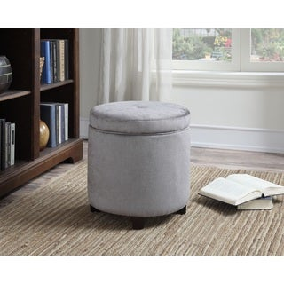 AC Pacific Mia Grey Upholstered Wood Round Storage Ottoman