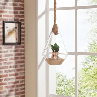 Danya B 10-inch Diamond Shape Hanging Glass Planter with Rope