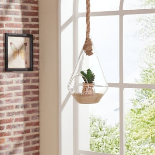 Danya B. 10-inch Diamond Shape Hanging Glass Planter with Rope