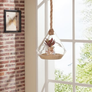 Danya B 8-inch Diamond Shape Hanging Glass Planter with Rope