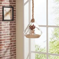 Danya B. 8-inch Diamond Shape Hanging Glass Planter with Rope