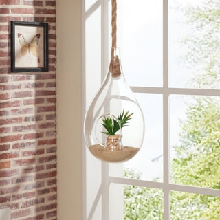 Danya B Teardrop Hanging Glass Planter with Rope