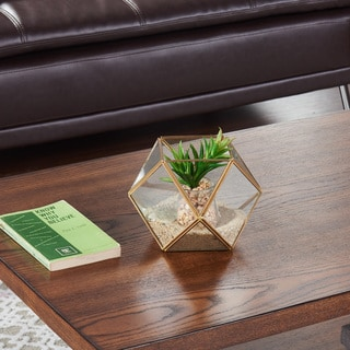 Danya B. Polyhedral Brass and Glass Terrarium