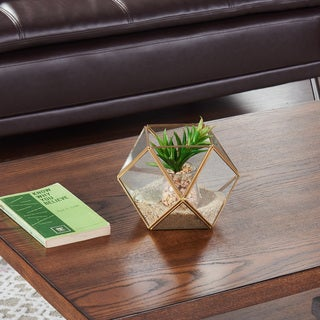 Danya B Polyhedral Brass and Glass Terrarium