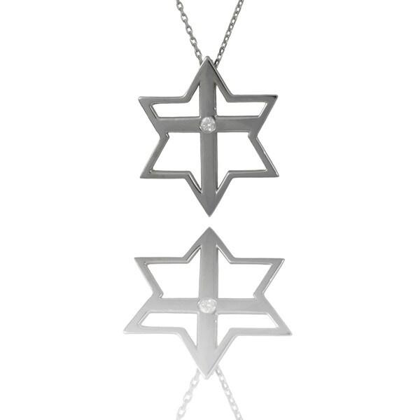 Shop 14k Gold Diamond Accent Judeo Christian Star Cross Necklace