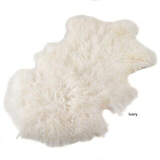 "Mongolian Lamb Throw Rug (Option: 1'7"" x 2'9"" - IVORY)"