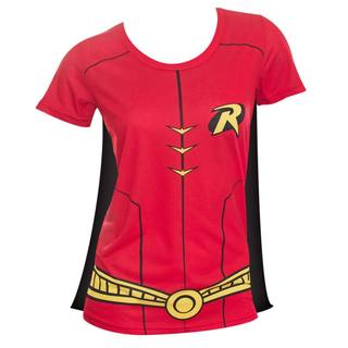 Robin Women's Sublimated Red Cotton/Polyester Caped Costume Tee