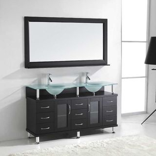 Design element clearwater contemporary double sink bathroom vanity set free shipping today for Bathroom vanities clearwater fl
