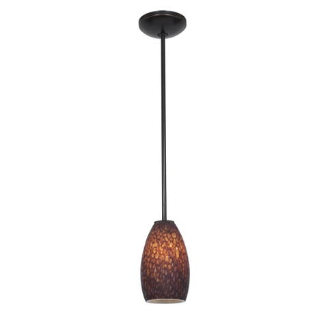 Access Lighting Champagne Bronze LED Rod Pendant, Brown Stone Shade