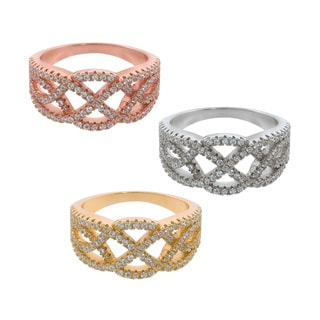 Eternally Haute 14K Gold-plated Pave Twist Ring