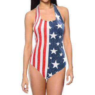 Women's Stars And Stripes USA 1-piece Lycra Swimsuit