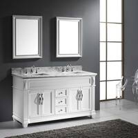 Virtu USA Victoria 60-inch Square Double Bathroom Vanity Set with Faucets
