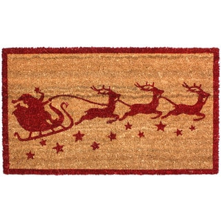 J & M Home Fashions Christmas Santa Sleigh Red and Tan Coir 18 inches x 30 inches Vinyl Back Doormat