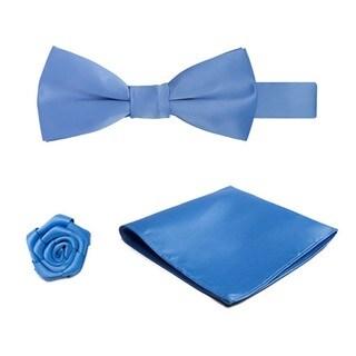 Boys' Microfiber Pre-tied Banded Bow Tie, Hanky, Open Rose Lapel Flower Set