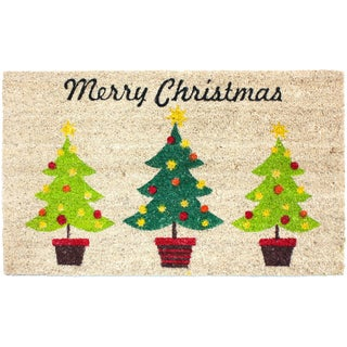 J&M Home Fashions 'Christmas Trees' 18-inch x 30-inch Vinyl-back Doormat
