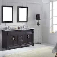 Virtu USA Victoria 60-inch Italian Carrara White Marble Round Double Bathroom Vanity Set with Faucets
