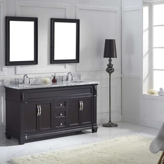 Virtu USA Victoria 60 Inch Italian Carrara White Marble Round Double  Bathroom Vanity Set With