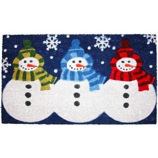 J & M Home Fashions Christmas '3 Snowmen' 18-inch x 30-inch Vinyl Back Doormat