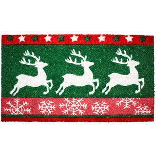 J & M Home Fashions 'Christmas Reindeer' 18-inch x 30-inch Vinyl Back Doormat