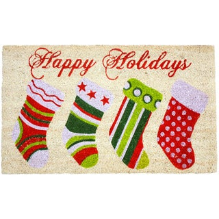 J & M Home Fashions Christmas Stockings White/Red/Green Coir/Rubber/Vinyl 18-inch x 30-inch Vinyl Back Doormat