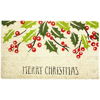 J&M Home Fashions Merry Christmas Holly Multi-color Coir, Rubber, and Vinyl 18-inch x 30-inch Eco-friendly Doormat
