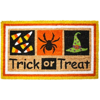 J & M Home Fashions Halloween Trick or Treat 18-inch x 30-inch Vinyl-back Doormat