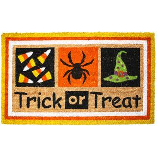 J & M Home Fashions Halloween Trick or Treat 18-inch x 30-inch Vinyl-back Doormat|https://ak1.ostkcdn.com/images/products/11855199/P18756154.jpg?impolicy=medium