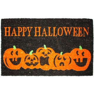 J & M Home Fashions 'Halloween Pumpkins' 18-inch x 30-inch Doormat with Vinyl Back