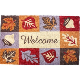 J & M Home Fashions Harvest Welcome Icons Vinyl-back Coco Doormat (18 x 30)