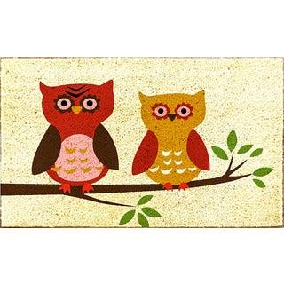 J & M Home Fashions 'Harvest Owls' 18-inch x 30-inch Vinyl Back Doormat