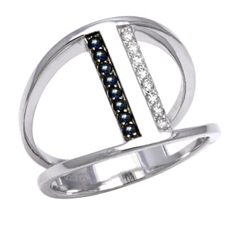 Size 7 Beverly Hills Charm Sterling Silver 1/8ct TDW Diamond and Blue Sapphire Ring