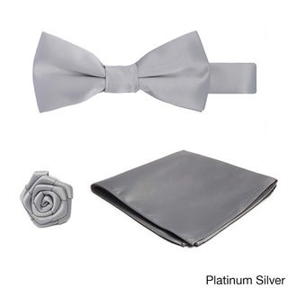 Boys' Microfiber 3-piece Pre-tied Banded Bow Tie, Hanky and Open Rose Lapel Flower Set